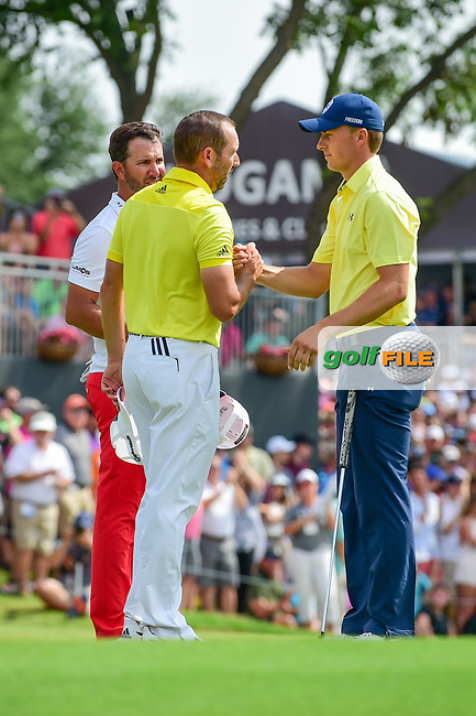 Jordan Spieth (USA) and Sergio Garcia (ESP) shake hands after round 4 of the Dean &amp; Deluca Invitational, at The Colonial, Ft. Worth, Texas, USA. 5/28/2017.<br /> Picture: Golffile | Ken Murray<br /> <br /> <br /> All photo usage must carry mandatory copyright credit (&copy; Golffile | Ken Murray)