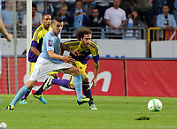 Thursday 08 August 2013<br /> Pictured: Jose Canas of Swansea (R) challenged by Erdal Rakip of Malmo (L). <br /> Re: Malmo FF v Swansea City FC, UEFA Europa League 3rd Qualifying Round, Second Leg, at the Swedbank Stadium, Malmo, Sweden.