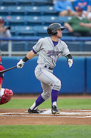 Jake Peter (3) of the Winston-Salem Dash follows through on his swing against the Salem Red Sox at LewisGale Field at Salem Memorial Ballpark on May 14, 2015 in Salem, Virginia.  The Red Sox defeated the Dash 1-0.  (Brian Westerholt/Four Seam Images)