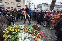 """Gedenken an Ehrenmord-Opfer Hatun Sueruecue in Berlin-Tempelhof am Dienstag den 7. Februar 2020.<br /> Die 21jaehrige Deutsch-Kurdin wurde am 7.2.2005 von ihrer Familie ermordet, weil sie sich nicht an die """"traditionellen Familienwerte"""" halten und ein selbsbestimmtes Leben fuehren wollte. Sie hat gegen den Willen Ihrer Familie ine Ausbildung zur Elektroinstallatoerin gemacht hat und mit ihrem unehelichen Kind.<br /> Der Mord wurde in Abstimmung mit der Familie von ihren Bruedern durchgefuehrt, als Taeter wurde der damals minderjaehriger Bruder vorgeschickt. Zwei Brueder fluechteten in die Tuerkei.<br /> Im Bild: Martin Hikel (SPD), Bezirksbuergermeister von Neukoelln.<br /> 7.2.2020, Berlin<br /> Copyright: Christian-Ditsch.de<br /> [NUR FUER REDAKTIONELLE ZWECKE! Werbung nur auf Anfrage beim Fotografen. Inhaltsveraendernde Manipulation des Fotos nur nach ausdruecklicher Genehmigung des Fotografen. Vereinbarungen ueber Abtretung von Persoenlichkeitsrechten/Model Release der abgebildeten Person/Personen liegen nicht vor. NO MODEL RELEASE! Don't publish without copyright Christian-Ditsch.de, Veroeffentlichung nur mit Fotografennennung, sowie gegen Honorar, MwSt. und Beleg. Konto: I N G - D i B a, IBAN DE58500105175400192269, BIC INGDDEFFXXX, Kontakt: post@christian-ditsch.de<br /> Bei der Bearbeitung der Dateiinformationen darf die Urheberkennzeichnung in den EXIF- und  IPTC-Daten nicht entfernt werden, diese sind in digitalen Medien nach §95c UrhG rechtlich geschuetzt. Der Urhebervermerk wird gemaess §13 UrhG verlangt.]"""