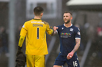 7th March 2020; Somerset Park, Ayr, South Ayrshire, Scotland; Scottish Championship Football, Ayr United versus Dundee FC; Ross Doohan of Ayr United and Christie Elliott of Dundee bump fists at the end of the match