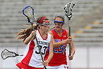 Redondo Beach, CA 05/14/11 -  Emily Field (Redondo Union #33) and Hailey Fessenden (Los Alamitos #25)in action during the 2011 US Lacrosse / CIF Southern Section Division 1 Girls Varsity Lacrosse Championship, Los Alamitos defeated Redondo Union 17-5.