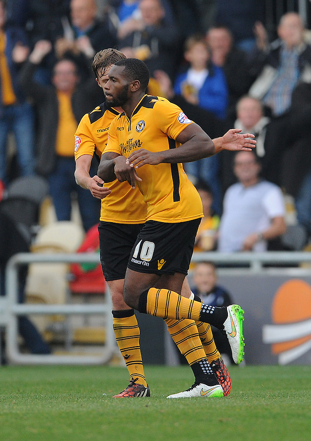 Newport County's Lenell John-Lewis celebrates scoring his sides equalising goal to make the score 1-1<br /> <br /> Photographer  Ian Cook/CameraSport<br /> <br /> Football - The Football League Sky Bet League Two - Newport County AFC v Exeter City - Saturday 3rd October 2015 - Rodney Parade - Newport<br /> <br /> &copy; CameraSport - 43 Linden Ave. Countesthorpe. Leicester. England. LE8 5PG - Tel: +44 (0) 116 277 4147 - admin@camerasport.com - www.camerasport.com
