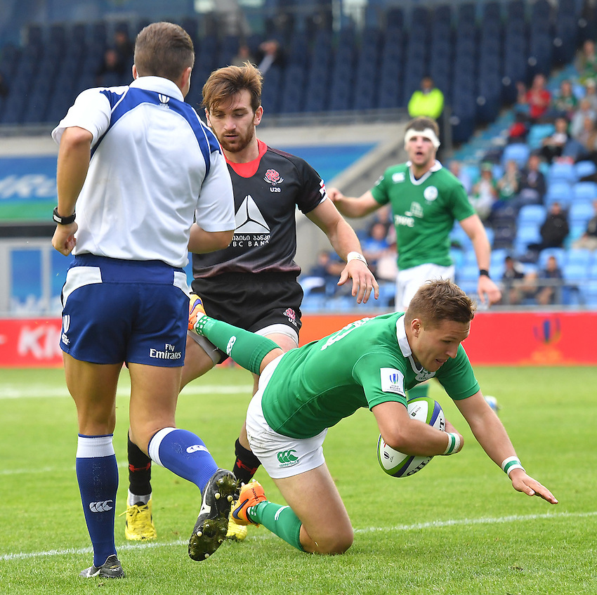 Ireland's Johnny McPhillips scores his sides 2nd try<br /> <br /> Photographer Dave Howarth/CameraSport<br /> <br /> International Rugby Union - U20 World Rugby Championships 2016 - Pool B - Match 17 - Pool A Ireland U20 v Georgia U20 - Wednesday 15th June 2016 - Manchester City Academy Stadium - Manchester<br /> <br /> World Copyright &copy; 2016 CameraSport. All rights reserved. 43 Linden Ave. Countesthorpe. Leicester. England. LE8 5PG - Tel: +44 (0) 116 277 4147 - admin@camerasport.com - www.camerasport.com<br /> <br /> Photographer Stephen White/CameraSport<br /> <br /> International Rugby Union - U20 World Rugby Championships 2016 - Pool C France U20 v Argentina U20 - Match 1 - Tuesday 07th June 2016 - AJ Bell Stadium - Salford - England<br /> <br /> World Copyright &copy; 2016 CameraSport. All rights reserved. 43 Linden Ave. Countesthorpe. Leicester. England. LE8 5PG - Tel: +44 (0) 116 277 4147 - admin@camerasport.com - www.camerasport.com
