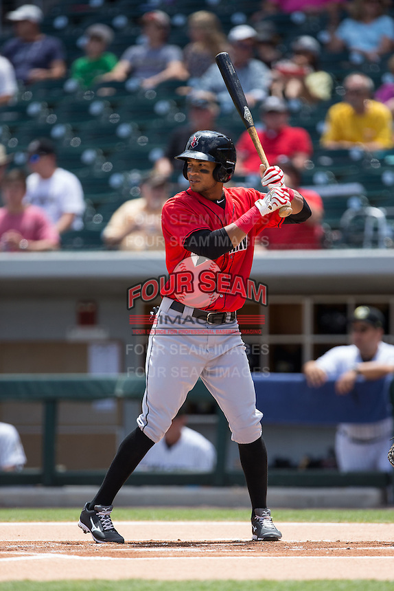 Pedro Florimon (13) of the Indianapolis Indians at bat against the Charlotte Knights at BB&T BallPark on June 19, 2016 in Charlotte, North Carolina.  The Indians defeated the Knights 6-3.  (Brian Westerholt/Four Seam Images)