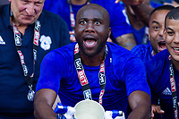 Sol Bamba lifts the Championship runners up cup after the Sky Bet Championship match between Cardiff City and Reading at the Cardiff City Stadium, Cardiff, Wales on 6 May 2018. Photo by Mark  Hawkins / PRiME Media Images.