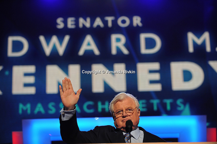 Senator Edward Kennedy addresses the Democratic National Convention at the Pepsi Center in Denver, Colorado on August 25, 2008.