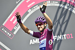 Maglia Ciclamino Elia Viviani (ITA) Quick-Step Floors at sign on before the start of Stage 18 of the 2018 Giro d'Italia, running 196km from Abbiategrasso to Prato Nevoso, Italy. 24th May 2018.<br />