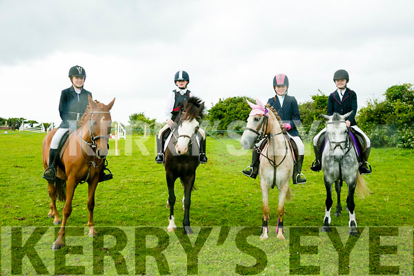 l-r  Gwen Holmes with Terry Dandy, Sandra Marshall with Hughie, Ellie Holmes with Pink Floyd and Kaya Sommers with Molly. at the KERRY PONY SOCIETY 37th Annual Show & Gymkhana At Blennerville on Sunday