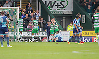 Ryan Hedges of Yeovil Town (centre, pointing) celebrates after scoring his side's first goal during the Sky Bet League 2 match between Yeovil Town and Wycombe Wanderers at Huish Park, Yeovil, England on 8 October 2016. Photo by Mark  Hawkins / PRiME Media Images.