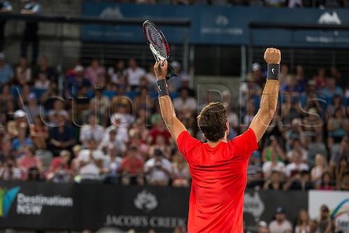 11.01.2014. Sydney Australia.  Juan Martin Del Potro celebrates his win during the Mens Final, Apia International, Sydney Olympic Park Tennis Centre, Sydney, Australia, Saturday, 11 Jan 2014.