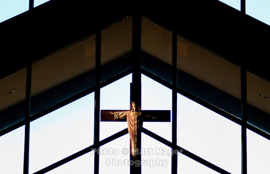 A Jesus statue is lit by morning sun during Sunday services at the original St. Stephen's Episcopal Church in Hurst, Texas, USA, Sunday, Nov. 1, 2009. The St. Stephen's Episcopal Church in Hurst, Texas has come to represent a recent change of the Episcopal church which now ordains openly gay priests and offers alternative ideas towards the future for Episcopalians. St. Stephen's has split into two factions due to differing opinions on the future of the church...CREDIT: Matt Nager for The Wall Street Journal