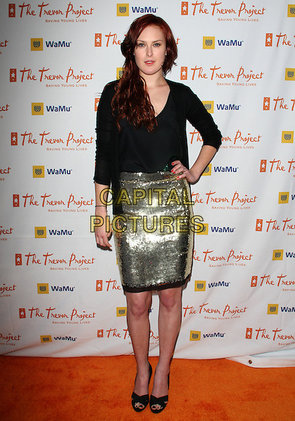 "RUMER WILLIS .11th Annual Trevor Project's ""Cracked XMas"" Benefit at the Wiltern Theatre, Los Angeles, California, USA..December 7th, 2008.full length black blouse shirt hand on hip skirt silver gold sequins sequined .CAP/ADM/KB.©Kevan Brooks/AdMedia/Capital Pictures."