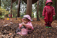 Adele Miroite, 3, carved out her space in the warm bark at at Fiddleheads Forest School, a nature preschool located in the UW Botanic Gardens Washington Park Arboretum.