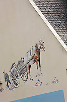 Europe/France/Bretagne/29/Finistère/Lilia: Mur peint d'un restaurant de plage représentant l'attelage d'un goémonier ramassant les algues