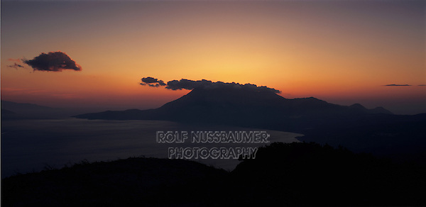 Ocean view at sunset, Samos, Greek Islands, Eastern Aegean Islands, Greece, Europe