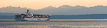 Seattle, container ship, Puget Sound, Olympic Mountains, Port of Seattle, Elliott Bay, Washington State, Pacific Northwest, North America, USA,