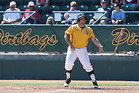 Ino Patron #4 of the Long Beach State Dirtbags bats against the Indiana Hoosiers at Blair Field on March 15, 2014 in Long Beach, California. Indiana defeated Long Beach State 2-1. (Larry Goren/Four Seam Images)
