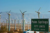 Palm Springs, City Limit, Sign, I-10 Freeway, Wind Turbine Farm, Coachella Valley,