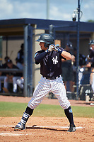 New York Yankees third baseman Kyle Gray (2) at bat during a Florida Instructional League game against the Pittsburgh Pirates on September 25, 2018 at Yankee Complex in Tampa, Florida.  (Mike Janes/Four Seam Images)
