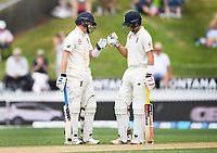 2nd December, Hamilton, New Zealand; England's Ollie Pope and Joe Root partnership on day 4 of the 2nd test cricket match between New Zealand and England  at Seddon Park, Hamilton, New Zealand.