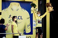 yellow jersey / GC leader Primoz Roglic (SVN/Jumbo-Visma) on the podium<br /> <br /> <br /> Stage 19 from Bourg-en-Bresse to Champagnole (167km)<br /> <br /> 107th Tour de France 2020 (2.UWT)<br /> (the 'postponed edition' held in september)<br /> <br /> ©kramon