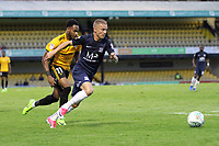 Jason Demetriou of Southend United gets the better of Lemar Reynolds of Newport County during Southend United vs Newport County, Caraboa Cup Football at Roots Hall on 8th August 2017
