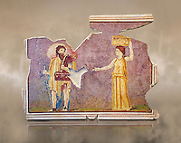 Roman fresco wall decorations from Villas of Rome. Museo Nazionale Romano ( National Roman Museum), Rome, Italy. Against an art background.