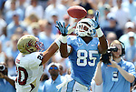 01 September 2012: UNC's Eric Ebron (85) is defended by Elon's David Wood (20). The University of North Carolina Tar Heels played the Elon University Phoenix at Kenan Memorial Stadium in Chapel Hill, North Carolina in a 2012 NCAA Division I Football game.
