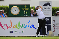 Shane Lowry (IRL) tees off the 1st tee during Sunday's storm delayed Final Round 3 of the Andalucia Valderrama Masters 2018 hosted by the Sergio Foundation, held at Real Golf de Valderrama, Sotogrande, San Roque, Spain. 21st October 2018.<br /> Picture: Eoin Clarke | Golffile<br /> <br /> <br /> All photos usage must carry mandatory copyright credit (&copy; Golffile | Eoin Clarke)