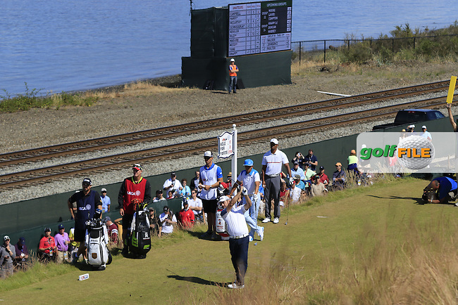 Louis Oosthuizen (RSA) tees off the 17th tee during Friday's Round 2 of the 2015 U.S. Open 115th National Championship held at Chambers Bay, Seattle, Washington, USA. 6/19/2015.<br /> Picture: Golffile | Eoin Clarke<br /> <br /> <br /> <br /> <br /> All photo usage must carry mandatory copyright credit (&copy; Golffile | Eoin Clarke)