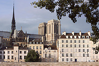 General view with Notre Dame de Paris, 12th to 14th century, initiated by the bishop Maurice de Sully, Paris, France Picture by Manuel Cohen