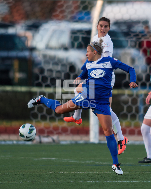 In a National Women's Soccer League Elite (NWSL) match, the Boston Breakers and  Washington Spirit drew 1-1, at the Dilboy Stadium on April 14, 2012.  Boston Breakers forward Kyah Simon (17) and Washington Spirit defender Ali Krieger (11) compete for a high ball.