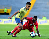 BOGOTA - COLOMBIA, 03-06-2019: Falcao Garcia jugador de Colombia disputa el balón con Armando Cooper jugador de Panamá durante partido amistoso entre Colombia y Panamá jugado en el estadio El Campín en Bogotá, Colombia. / Falcao Garcia player of Colombia fights the ball with Armando Cooper player of Panama during a friendly match between Colombia and Panama played at Estadio El Campin in Bogota, Colombia. Photo: VizzorImage / Nelson Rios / Cont