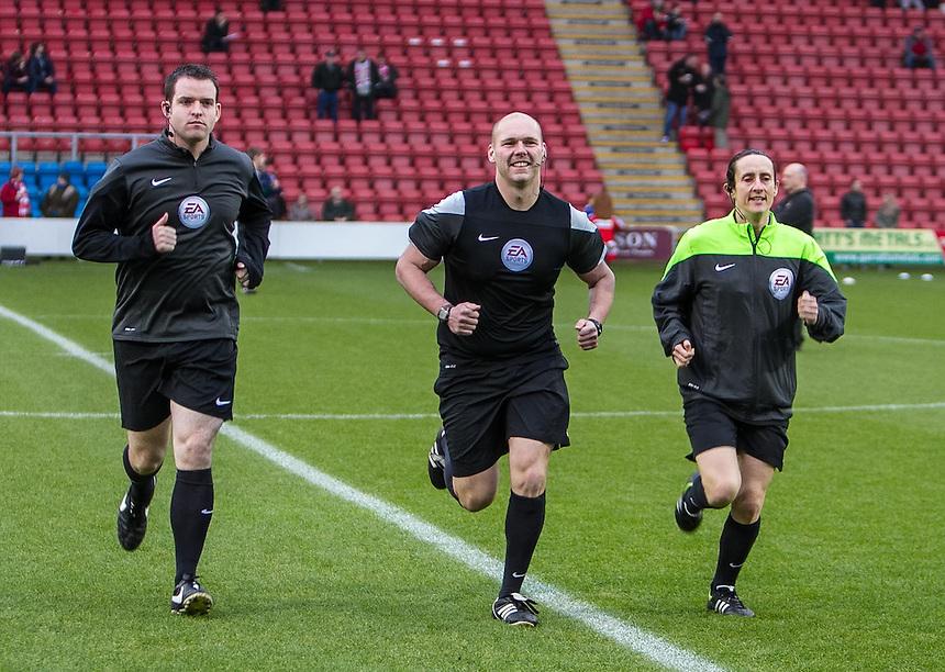 Match Referee (C) C Breakspear, assistant (L) R Johnson &amp; (R) A Fearn<br /> <br /> Photographer Marty Hill/CameraSport<br /> <br /> Football - The Football League Sky Bet League One - Crewe Alexandra v Doncaster Rovers - Saturday 29th November 2014 - Alexandra Stadium - Crewe<br /> <br /> &copy; CameraSport - 43 Linden Ave. Countesthorpe. Leicester. England. LE8 5PG - Tel: +44 (0) 116 277 4147 - admin@camerasport.com - www.camerasport.com