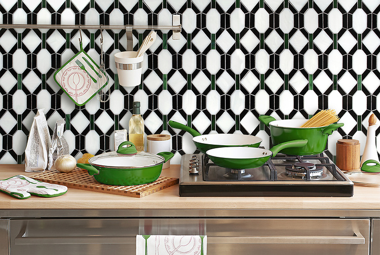 Tanzanian Trellis, a waterjet jewel glass mosaic, shown in Cat's Eye, Absolute White, and Obsidian. Designed by Joni Vanderslice as part of the J. Banks Collection for New Ravenna.