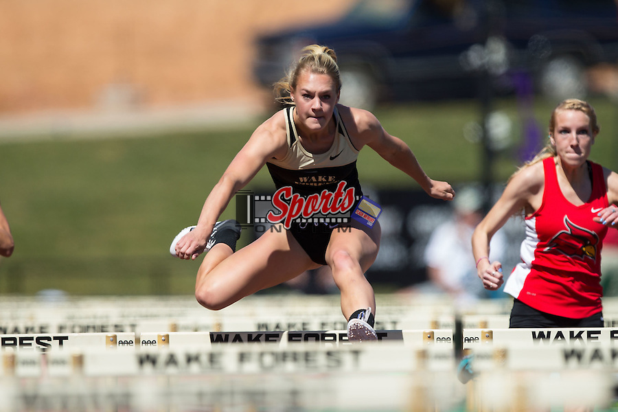 Amy Collins of the Wake Forest Demon Deacons competes in the women's 100m hurdles at the Wake Forest Open on March 18, 2016 in Winston-Salem, North Carolina.  (Brian Westerholt/Sports On Film)