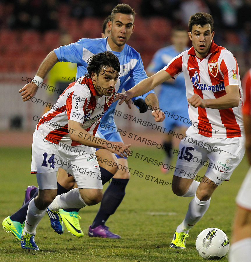 Fudbal, Jelen super liga, sezona 2011/12.Crvena Zvezda VS. Spartak-Zlatibor Voda (Subotica).Nikola mikic, left, Nemanja Covic, center and Luka Milivojevic, right.Belgrade, 03.03.2012..foto: Srdjan Stevanovic/Starsportphoto ©