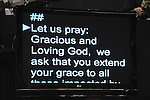 The teleprompter relays the invocation on day one of the Republican National Convention at the XCel Center in Saint Paul, Minnesota on September 1, 2008.
