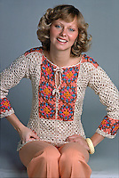 Model wears crocheted fashion, 1975. Photo by John G. Zimmerman.