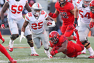 College Park, MD - November 12, 2016: Ohio State Buckeyes running back Mike Weber (25) in action during game between Ohio St. and Maryland at  Capital One Field at Maryland Stadium in College Park, MD.  (Photo by Elliott Brown/Media Images International)