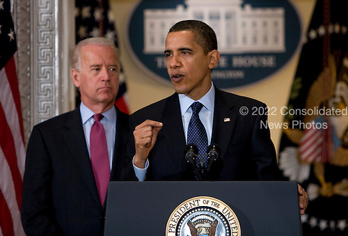 Washington, D.C. - March 20, 2009 -- United States President Barack Obama, right, and Vice President Joseph Biden, left,  deliver remarks to the representatives of the National Conference of State Legislatures..Credit: Kristoffer Tripplaar-Pool via CNP