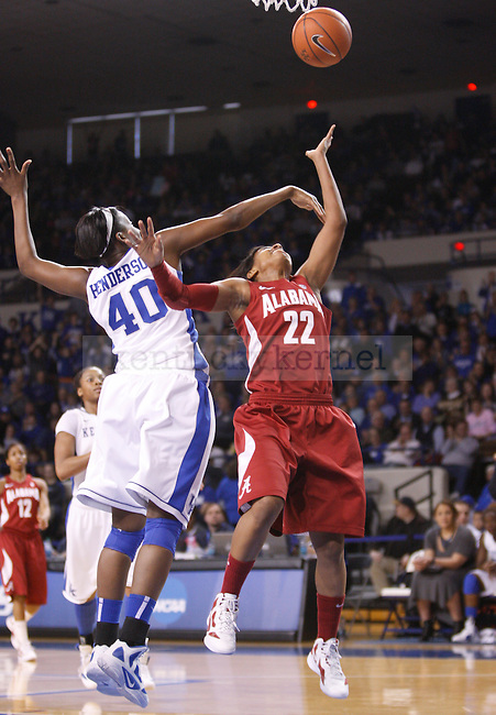 UK forward Brittany Henderson blocks Khristin Lee's shot during the first half of the UK Women's basketball game against Alabama on 1/29/12 at Memorial Coliseum in Lexington, Ky. Photo by Quianna Lige | Staff