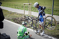 Lorenzo Rota (ITA/Bardiani-CSF) &amp; Fernando Gaviria Rendon (COL/Etixx-Quickstep) got tangled up as they crashed<br /> <br /> 78th Gent - Wevelgem in Flanders Fields (1.UWT)