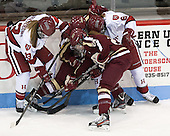 Kalley Armstrong (Harvard - 13), ?, Meagan Mangene (BC - 24), Lyndsey Fry (Harvard - 9) - The Boston College Eagles defeated the Harvard University Crimson 2-1 in the 2013 Beanpot opening round on Tuesday, February 5, 2013, at Matthews Arena in Boston, Massachusetts.