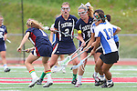 Redondo Beach, CA 05/14/11 - Emily Boone (St Margaret #2), Kelsey Patch (St Margaret #6) and unidentified Cate players in action during the 2011 Division 2 US Lacrosse / CIF Southern Section Championship game between Cate School and St Margaret.