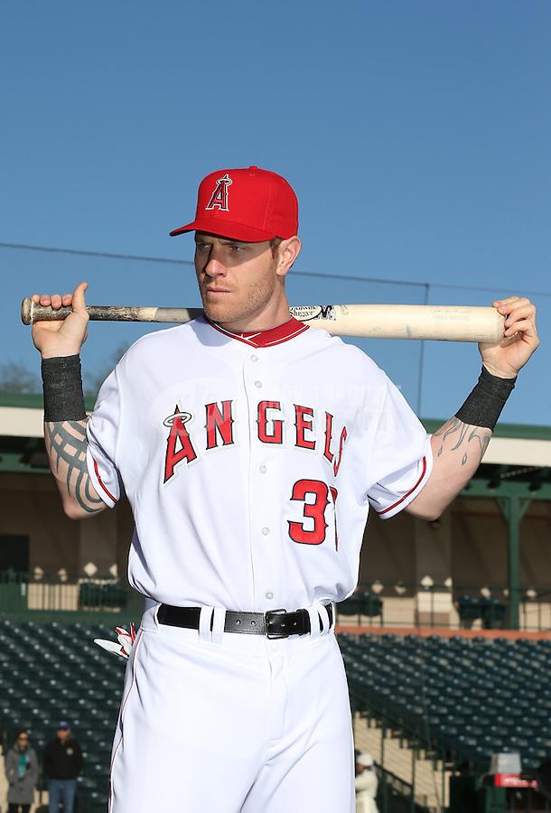 Feb. 21, 2013; Tempe, AZ, USA: Los Angeles Angels outfielder Josh Hamilton poses for a portrait during photo day at Tempe Diablo Stadium. Mandatory Credit: Mark J. Rebilas-