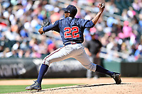 Gwinnett Braves pitcher Akeel Morris (22) delivers a pitch during a game against the Charlotte Knights at BB&T Ballpark on May 7, 2017 in Charlotte, North Carolina. The Knights defeated the Braves 7-1. (Tony Farlow/Four Seam Images)