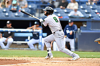 Augusta GreenJackets first baseman Francisco Tostado (8) swings at a pitch during a game against the Asheville Tourists at McCormick Field on April 7, 2019 in Asheville, North Carolina. The GreenJackets  defeated the Tourists 11-2. (Tony Farlow/Four Seam Images)