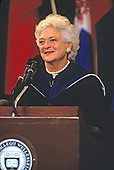 First lady Barbara Bush delivers the Commencement Address at Wellesley College in Wellesley, Massachusetts on June 1, 1990. She was accompanied by Raisa Gorbachev, wife of President Mikhail Gorbachev of the Soviet Union. <br /> Credit: Rick Friedman / Pool via CNP